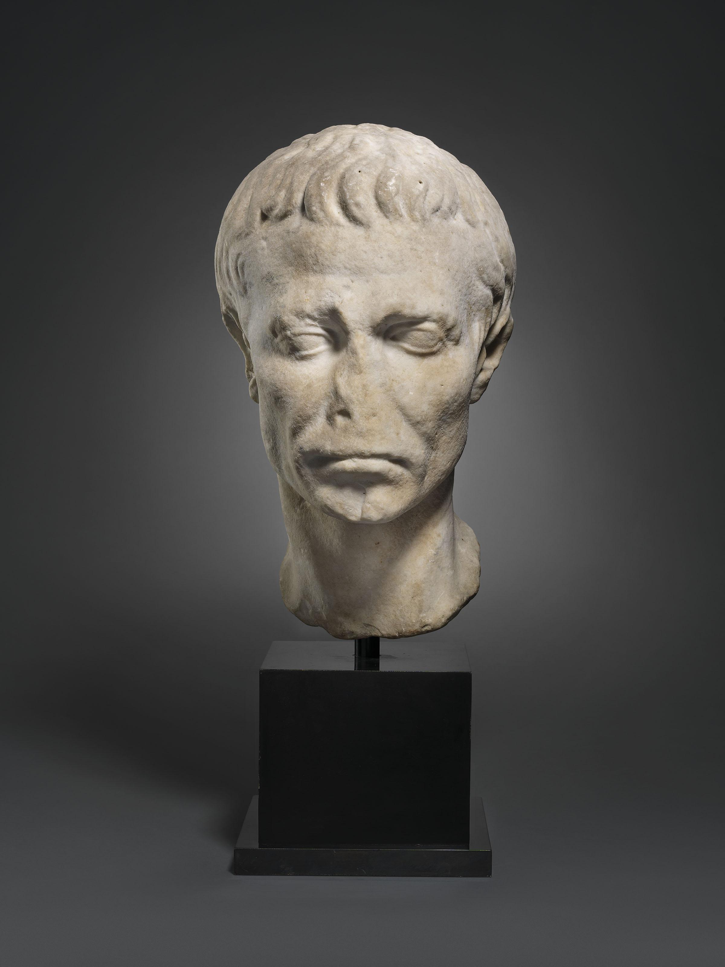 A ROMAN MARBLE PORTRAIT HEAD OF JULIUS CAESAR
