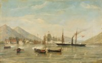 HMS 'Nemesis' and boats attacking a masked Battery, February 23rd 1841 (First Opium War)