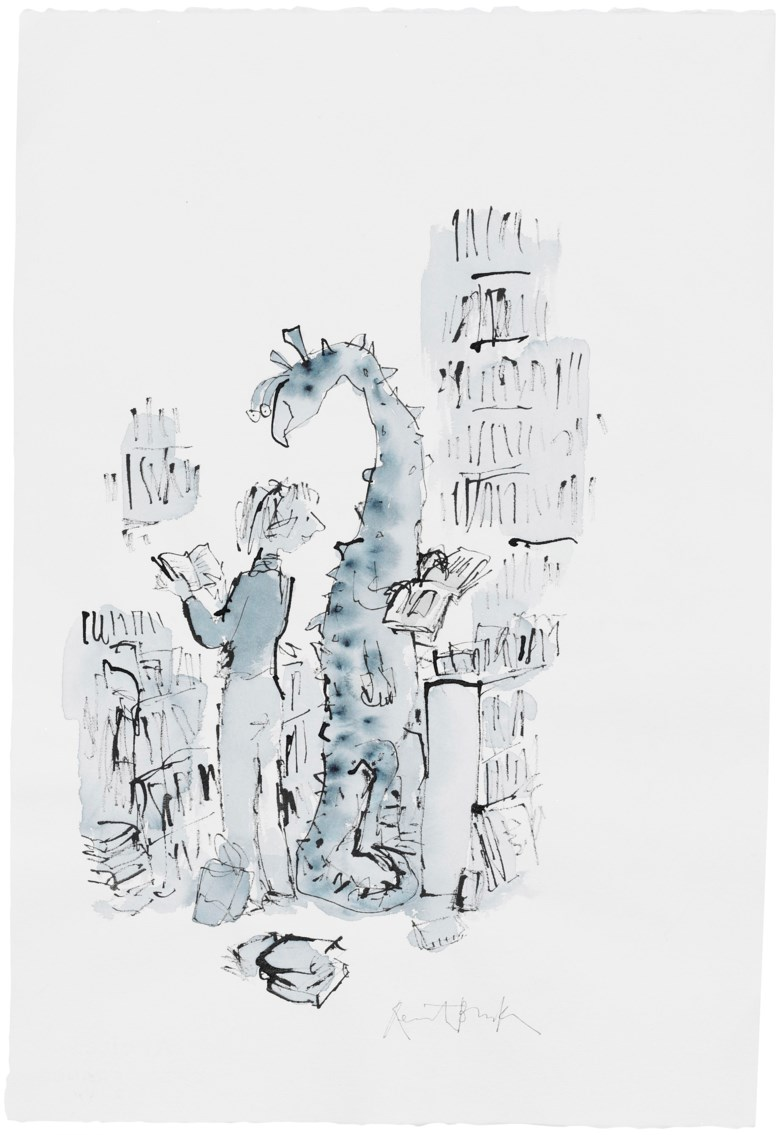 Quentin Blake (b.1932), Meeting of Two Interested Readers. Pen, ink, watercolour, watercolour paper, signed. 565 x 380 mm. Estimate £2,000-3,000. Offered in Quentin Blake Not in Books, 10-17 December 2019, Online