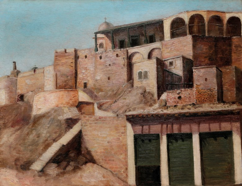 Nicola Saig (Palestinian, 1863-1942), Untitled (Deir Saidnaya), painted circa  1920s. 11¼ x 15 in (28.5 x 38 cm). Estimate $35,000-45,000. Offered in Middle Eastern Modern & Contemporary Art on 23 March 2019 at Christie's in Dubai