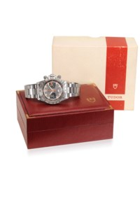 TUDOR. A RARE AND ATTRACTIVE STAINLESS STEEL CHRONOGRAPH WRISTWATCH WITH BRACELET AND ORIGINAL BOX