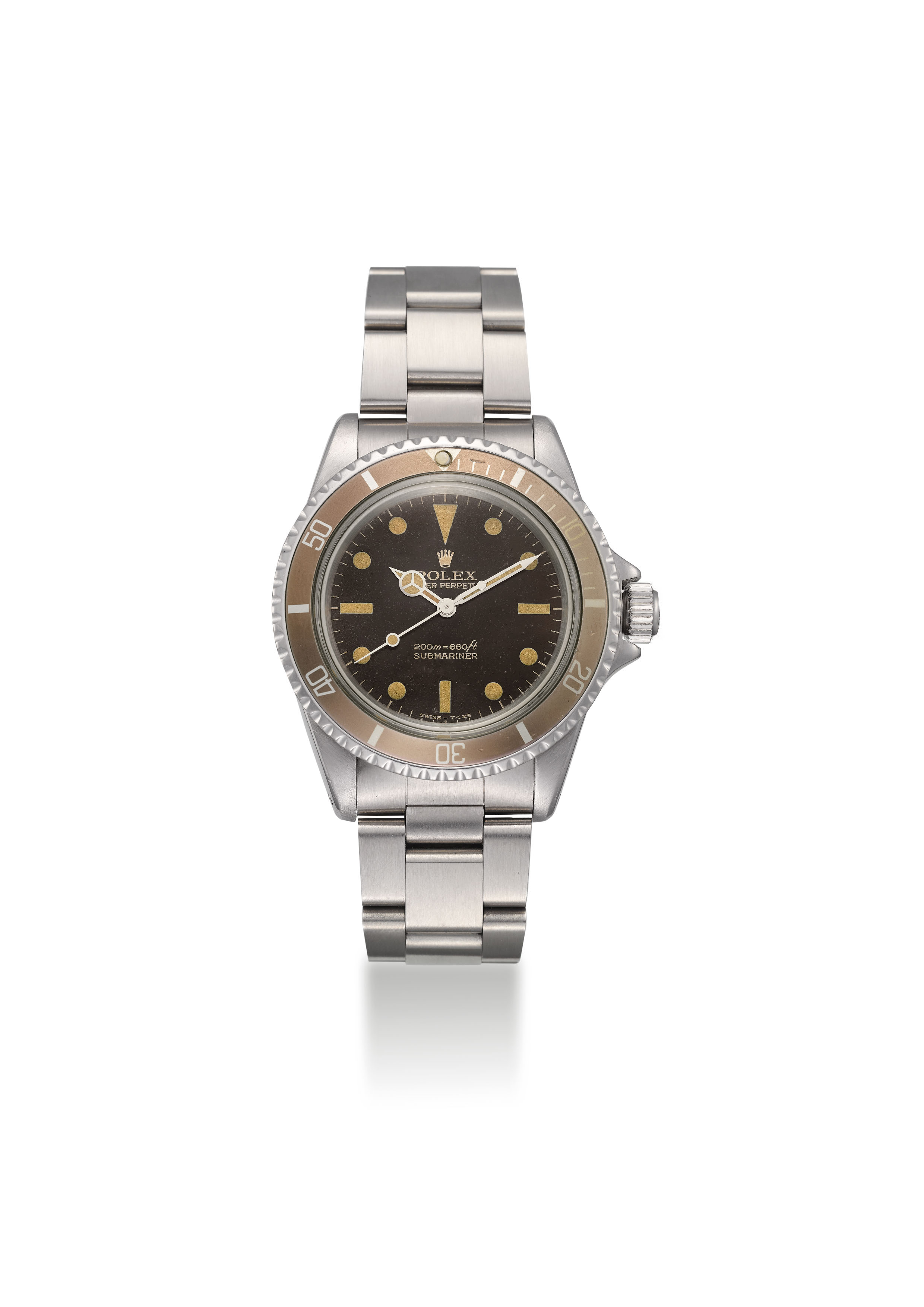 ROLEX. A FINE AND VERY RARE STAINLESS STEEL AUTOMATIC WRISTWATCH WITH SWEEP CENTRE SECONDS, STARDUST DIAL AND BRACELET