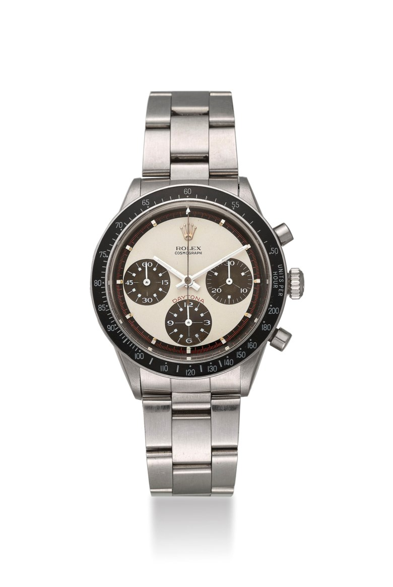 Rolex. a very fine, rare and attractive stainless-steel chronograph wristwatch with Paul Newman tropical dial, circa 1969. Signed Rolex, Cosmograph, Daytona, ref. 6241, case no. 2'036'572. Estimate $200,000-350,000. Offered in Important Watches on 22 March 2019 at Christie's in Dubai