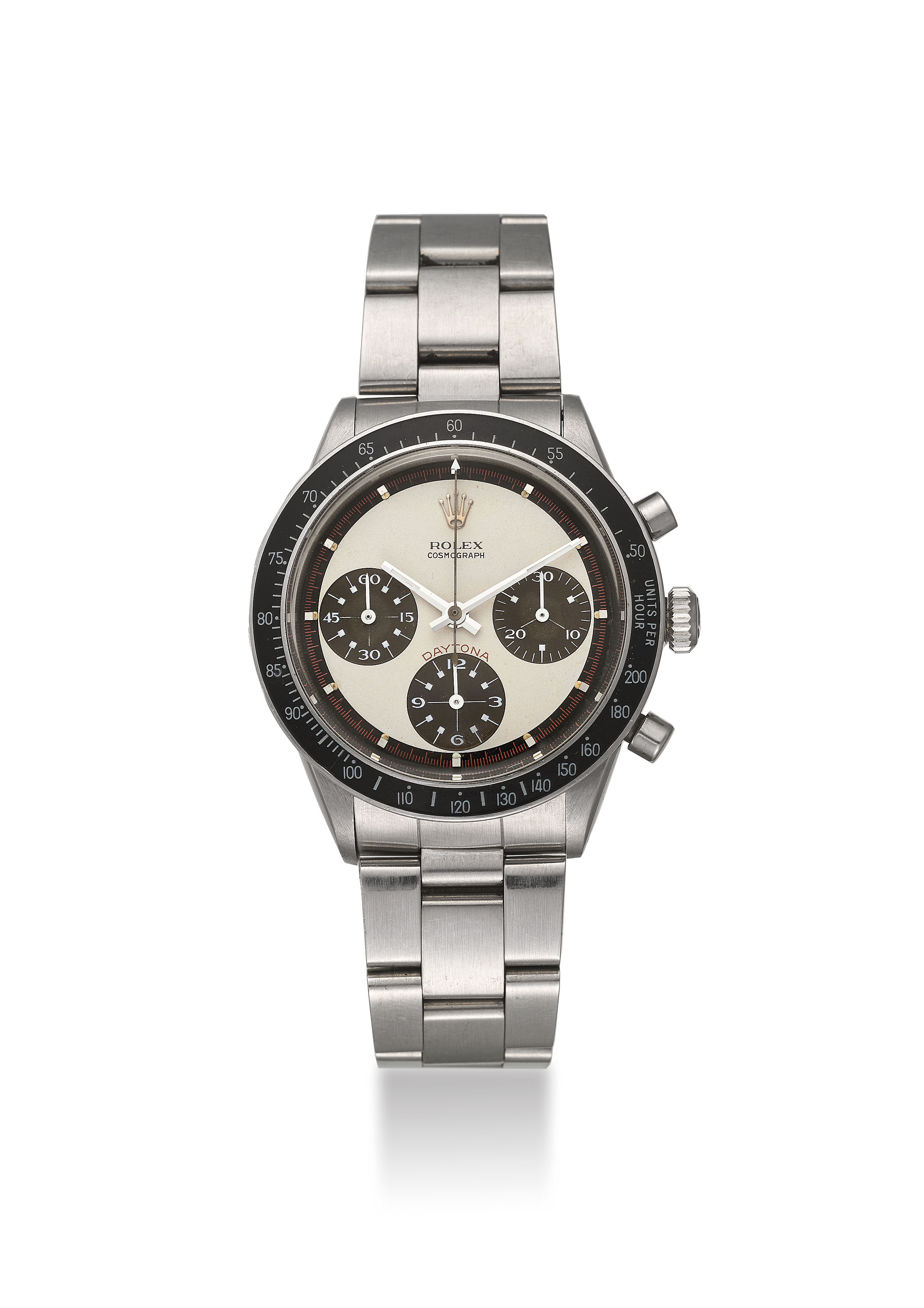 ROLEX. A VERY FINE, RARE AND ATTRACTIVE STAINLESS STEEL CHRONOGRAPH WRISTWATCH WITH PAUL NEWMAN TROPICAL DIAL