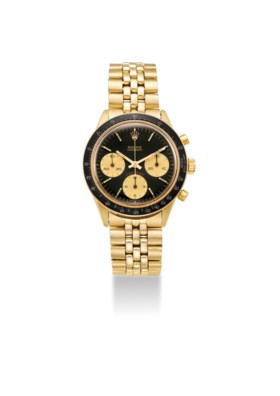 AN EXTREMELY FINE AND RARE 14K GOLD CHRONOGRAPH WRISTWATCH W