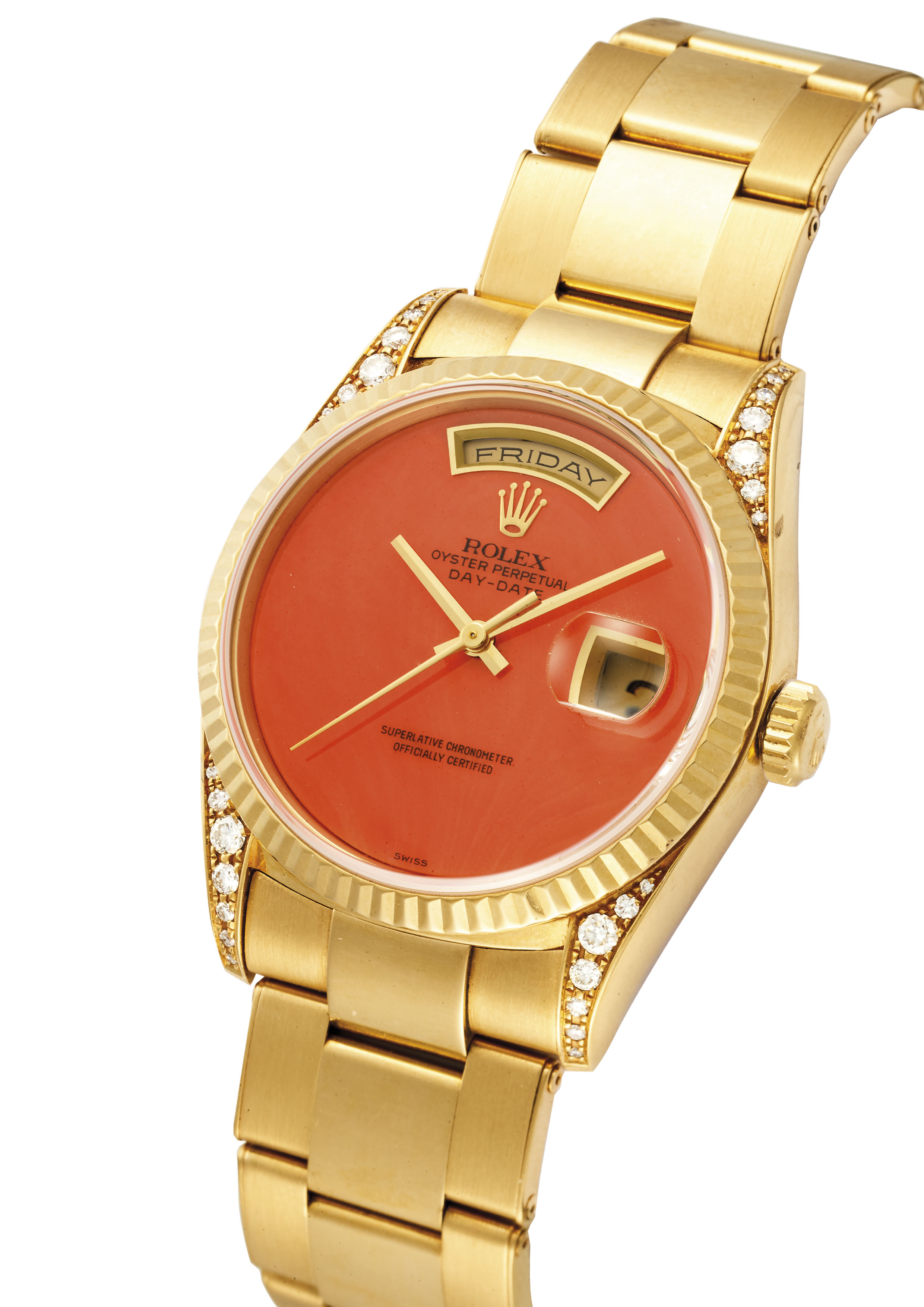 ROLEX. A VERY ATTRACTIVE AND RARE 18K GOLD AND DIAMOND,SET