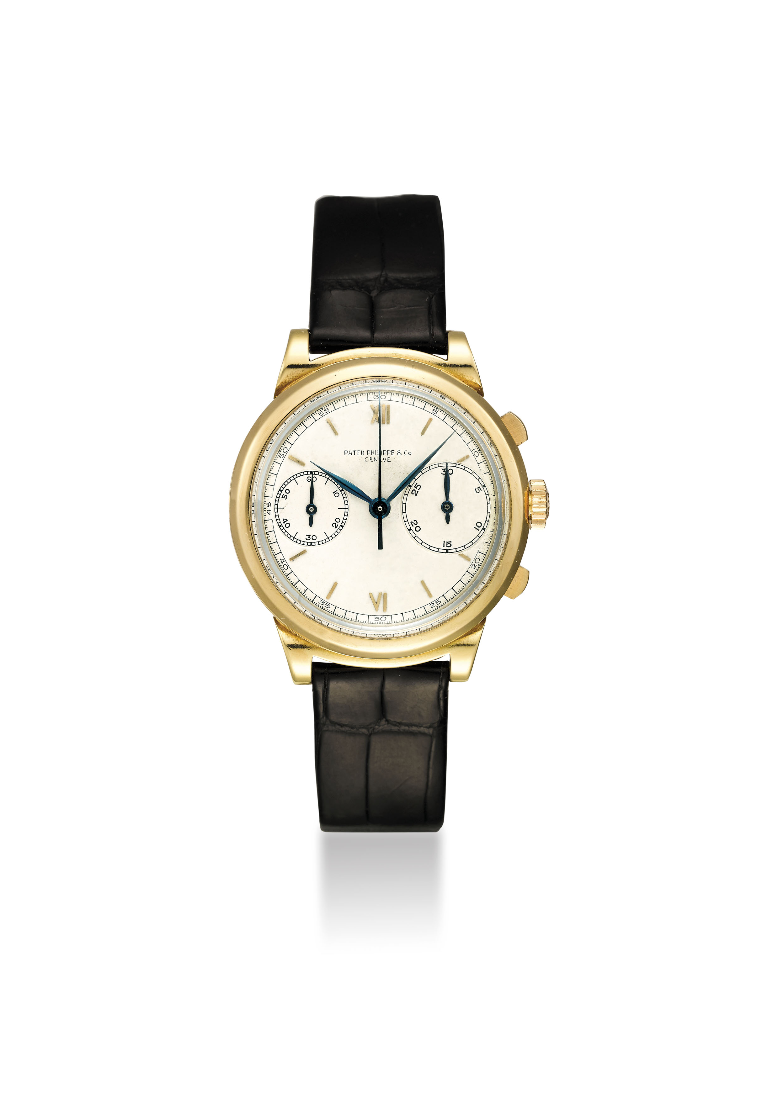"""PATEK PHILIPPE. AN EXTREMELY FINE AND LARGE, HIGHLY IMPORTANT AND PROBABLY UNIQUE 18K GOLD """"PROTOTYPE"""" CHRONOGRAPH WRISTWATCH WITH UNIQUELY CONSTRUCTED PATEK PHILIPPE CASE AND UNIQUE DIAL WITH OVERSIZED 30-MINUTE REGISTER"""