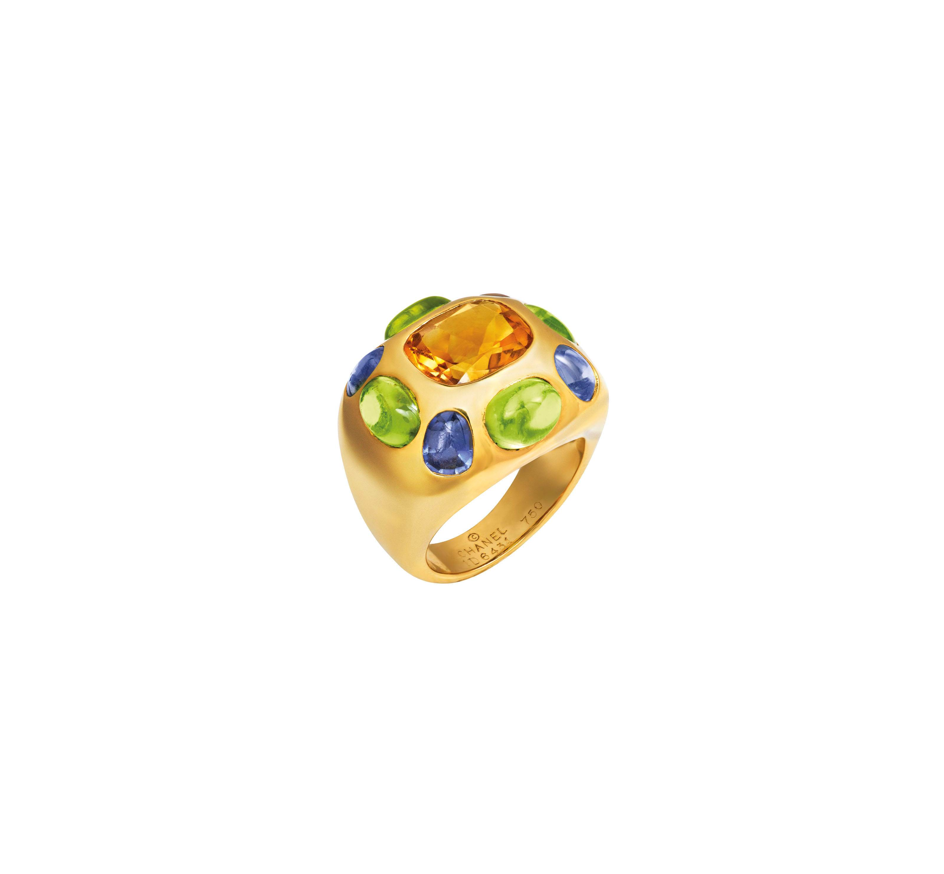 CITRINE, PERIDOT AND SAPPHIRE RING, CHANEL