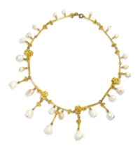ART NOUVEAU PEARL NECKLACE, LUCIEN GAILLARD