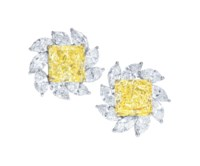 COLOURED DIAMOND AND DIAMOND EARRINGS, FARAONE