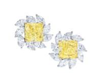COLOURED DIAMOND AND DIAMOND EARRINGS, FARAONE