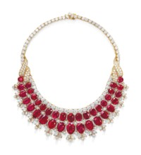 RUBY AND DIAMOND BIB NECKLACE, VAN CLEEF & ARPELS