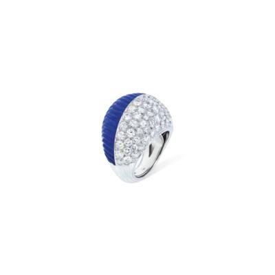 LAPIS LAZULI AND DIAMOND RING,