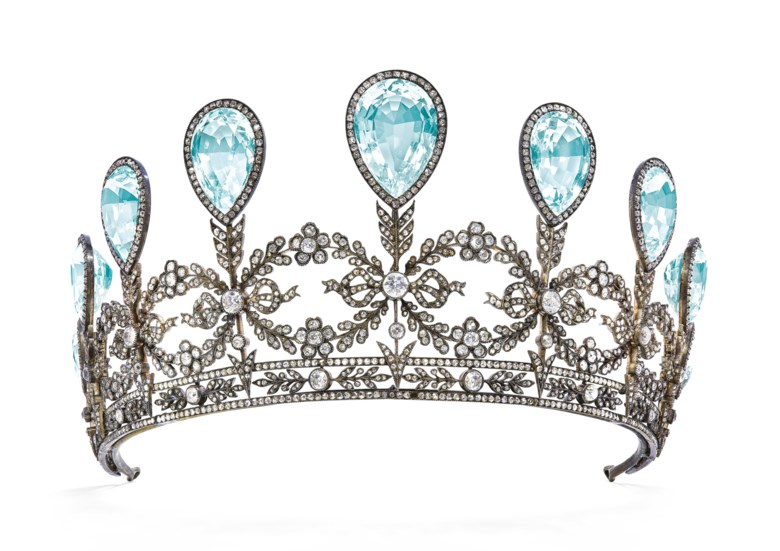 A rare aquamarine and diamond tiara, by Fabergé, 1904. Estimate CHF 230,000-340,000. Offered in Magnificent Jewels on 15 May 2019 at Christie's in Geneva
