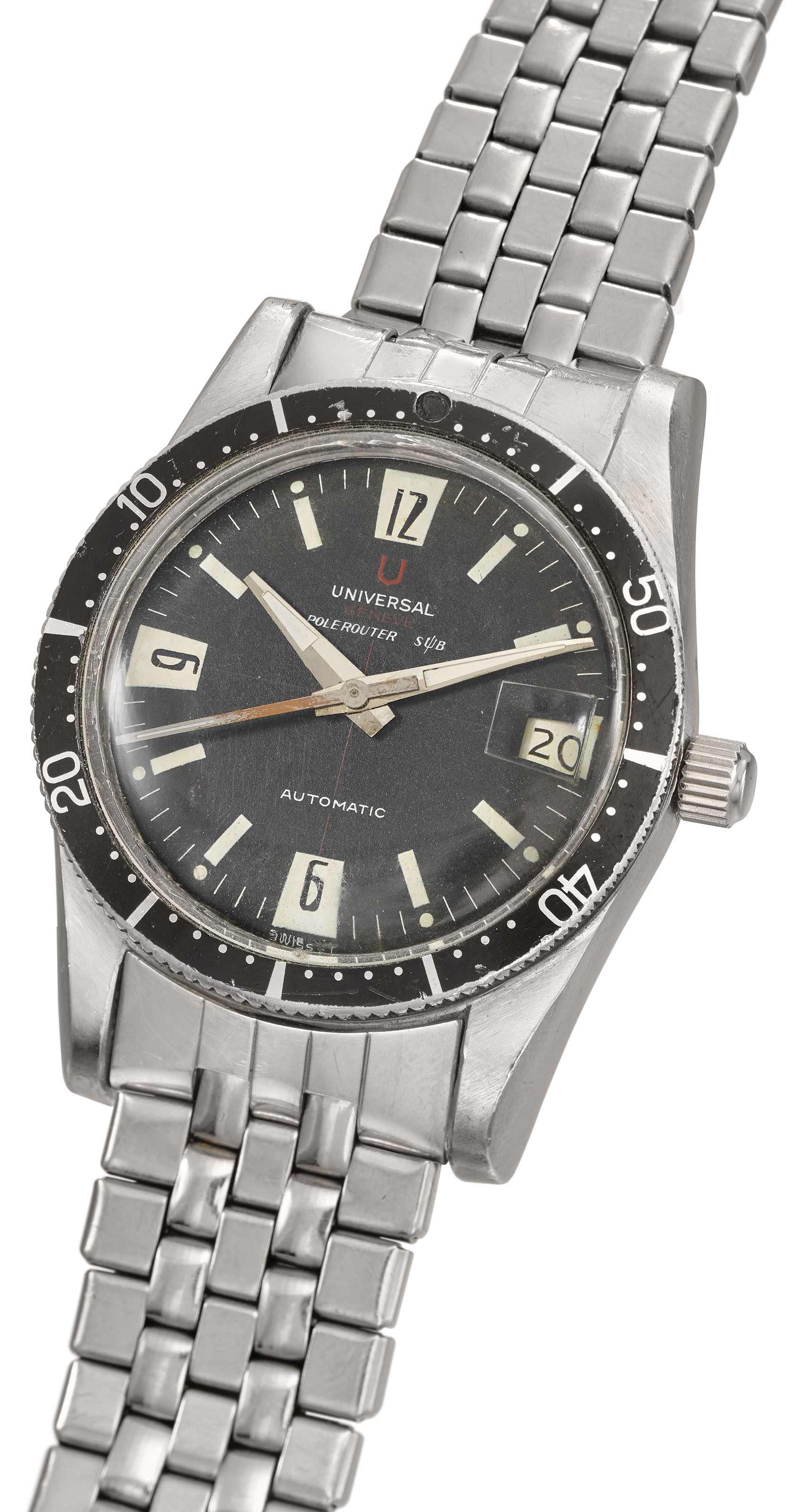 UNIVERSAL. A RARE STAINLESS STEEL AUTOMATIC WRISTWATCH WITH SWEEP CENTRE...
