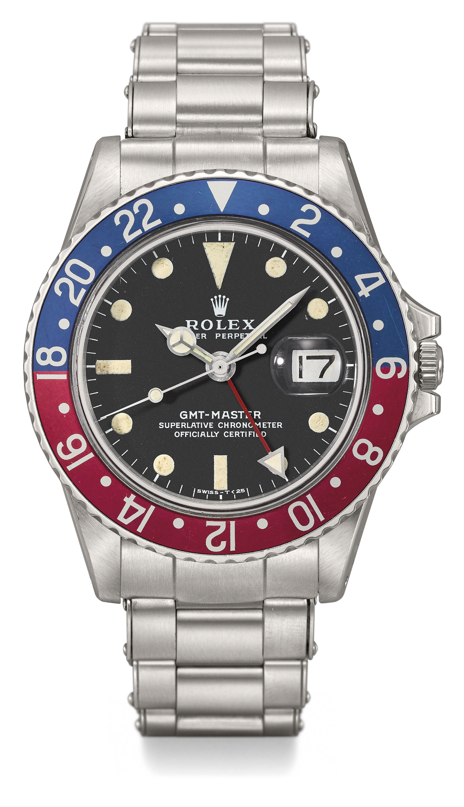 ROLEX. A VERY FINE AND EXTREMLY RARE STAINLESS STEEL DUAL TIME AUTOMATIC...
