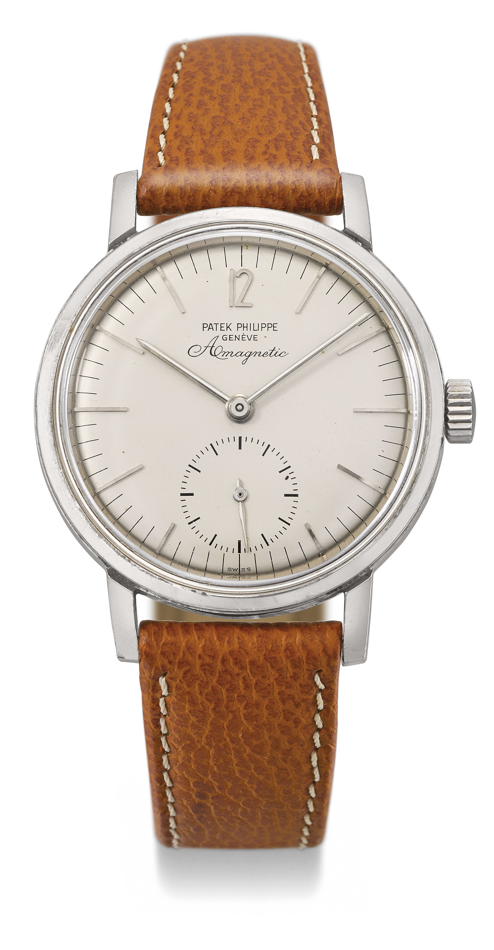 Patek Philippe. A very rare and attractive stainless steel anti-magnetic wristwatch