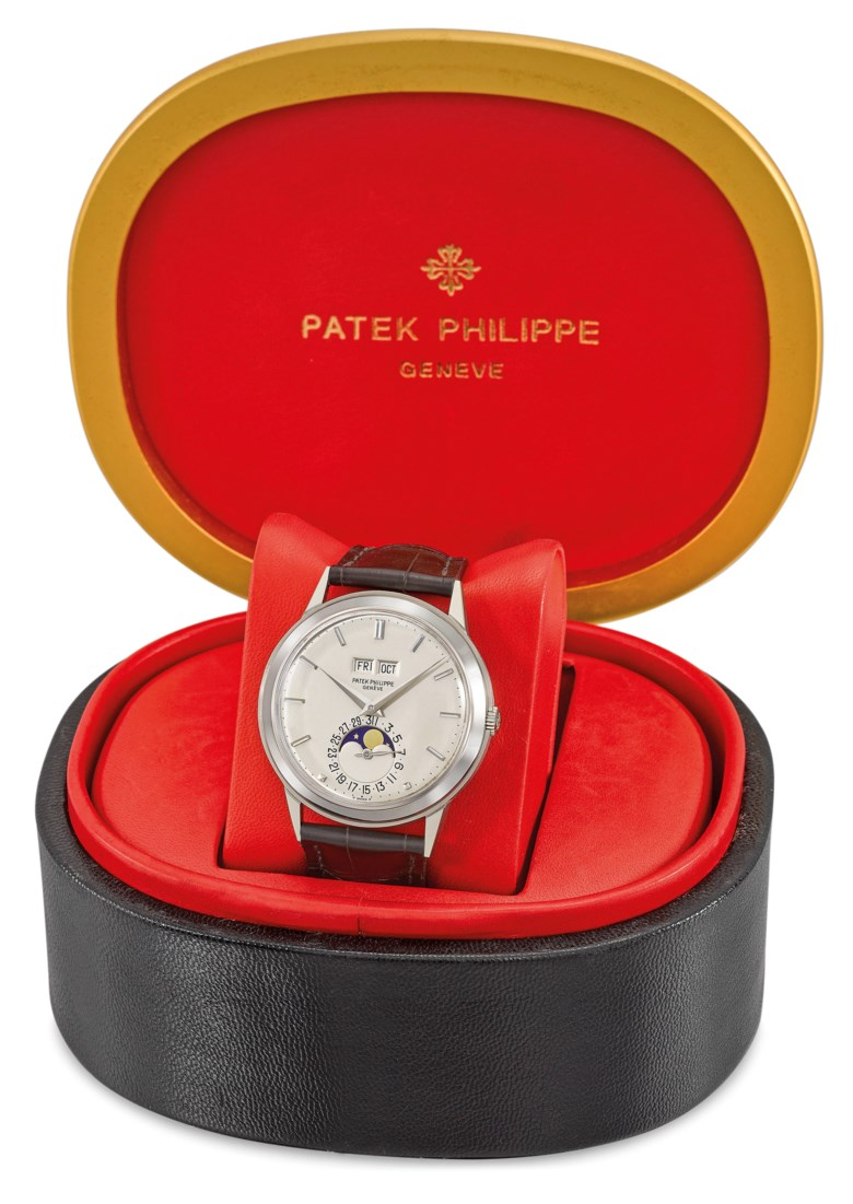 Patek Philippe. An extremely fine, very rare and highly attractive 18K white gold automatic perpetual calendar wristwatch with moon phases and box, Signed Patek Philippe, Genève, ref. 3448, movement no. 1119348, case no. 331526, manufactured in 1974. Case snap on back, 37 mm  diam, signed. Estimate CHF 400,000-600,000. Offered in Rare Watches on 11 November 2019 at Christie's in Geneva