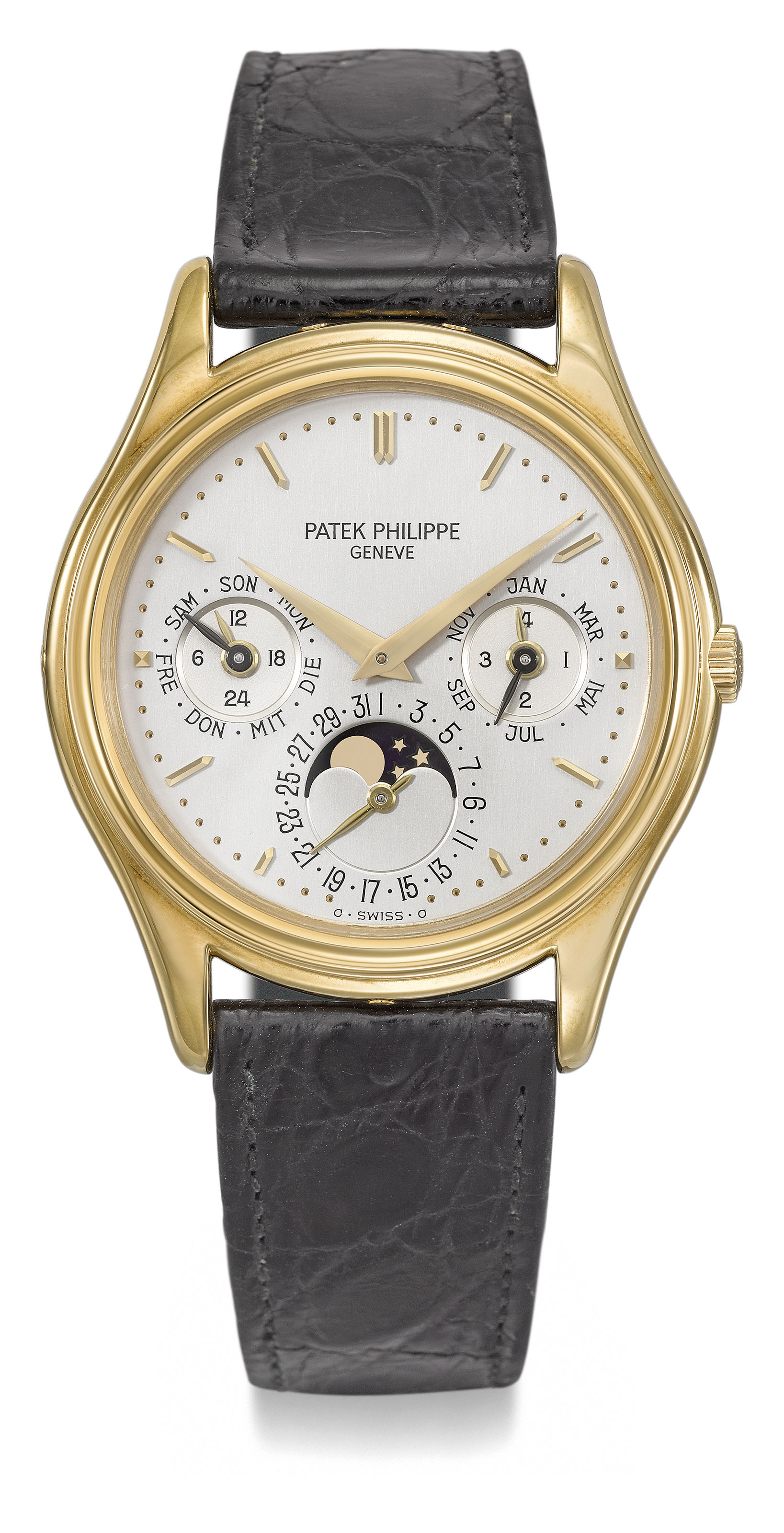 Patek Philippe. A very fine 18K gold automatic perpetual calendar wristwatch with moon phases, German calendar, Certificate of Origin and box