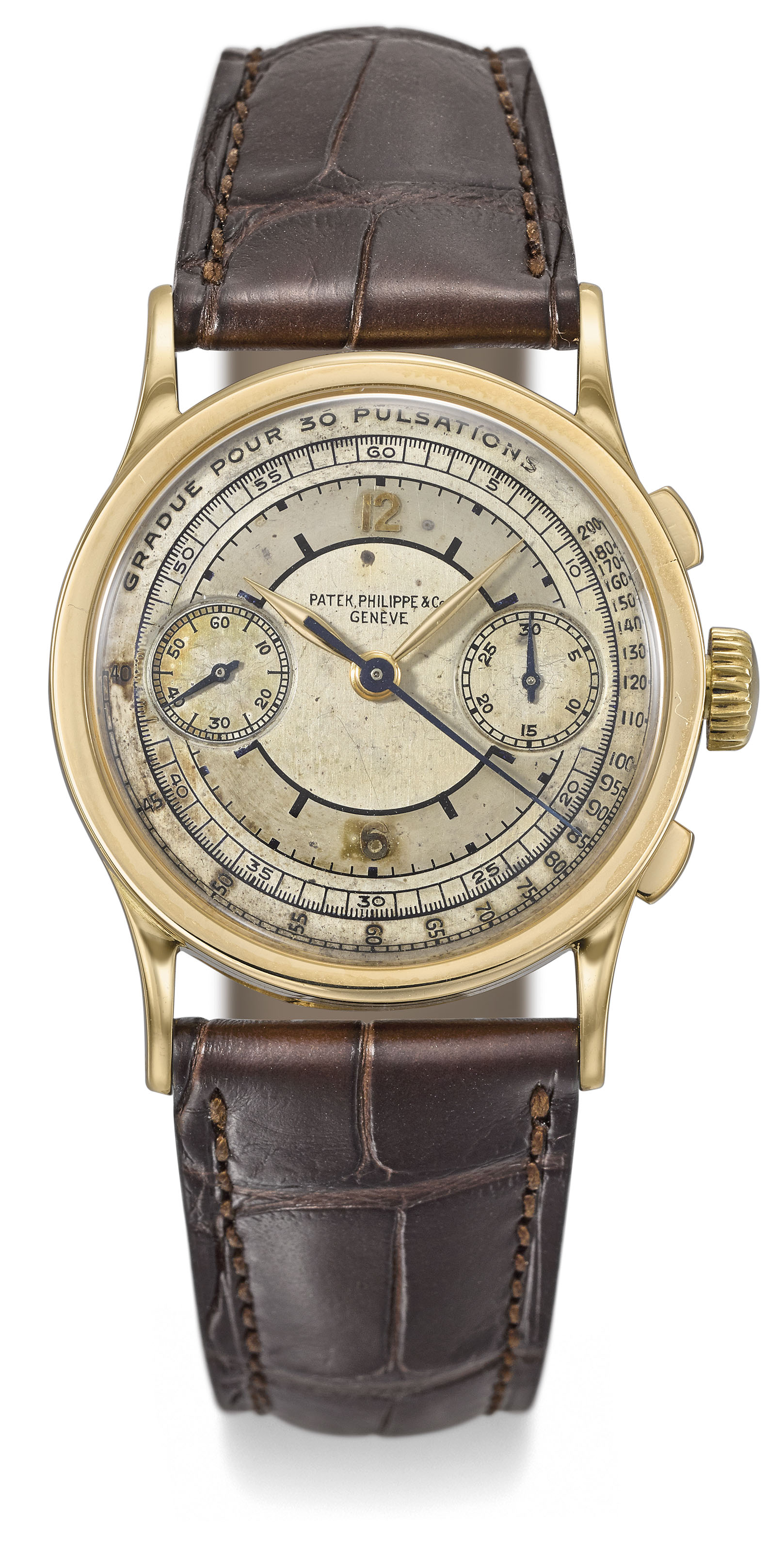 Patek Philippe. A very fine and extremely rare 18K gold chronograph...