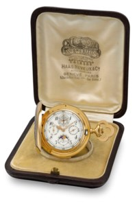 Haas Neveux & Cie. A very fine and heavy 18K gold hunter case minute repeating perpetual calendar keyless lever chronograph watch with moon phases, poinçon de Genève quality movement and original fitted box