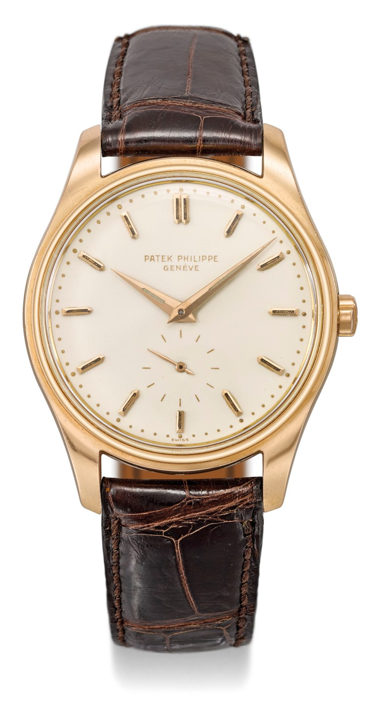 Patek Philippe. An extremely rare and attractive 18k pink gold automatic wristwatch with cream-coloured enamel dial, luminous indexes and hands and original pink gold gay freres bracelet, Signed Patek Philippe, Genève, ref. 2526, movement no. 765'510, case no. 2'604'111, manufactured in 1958. Estimate CHF 50,000-100,000. Offered in Rare Watches on 11 November 2019 at