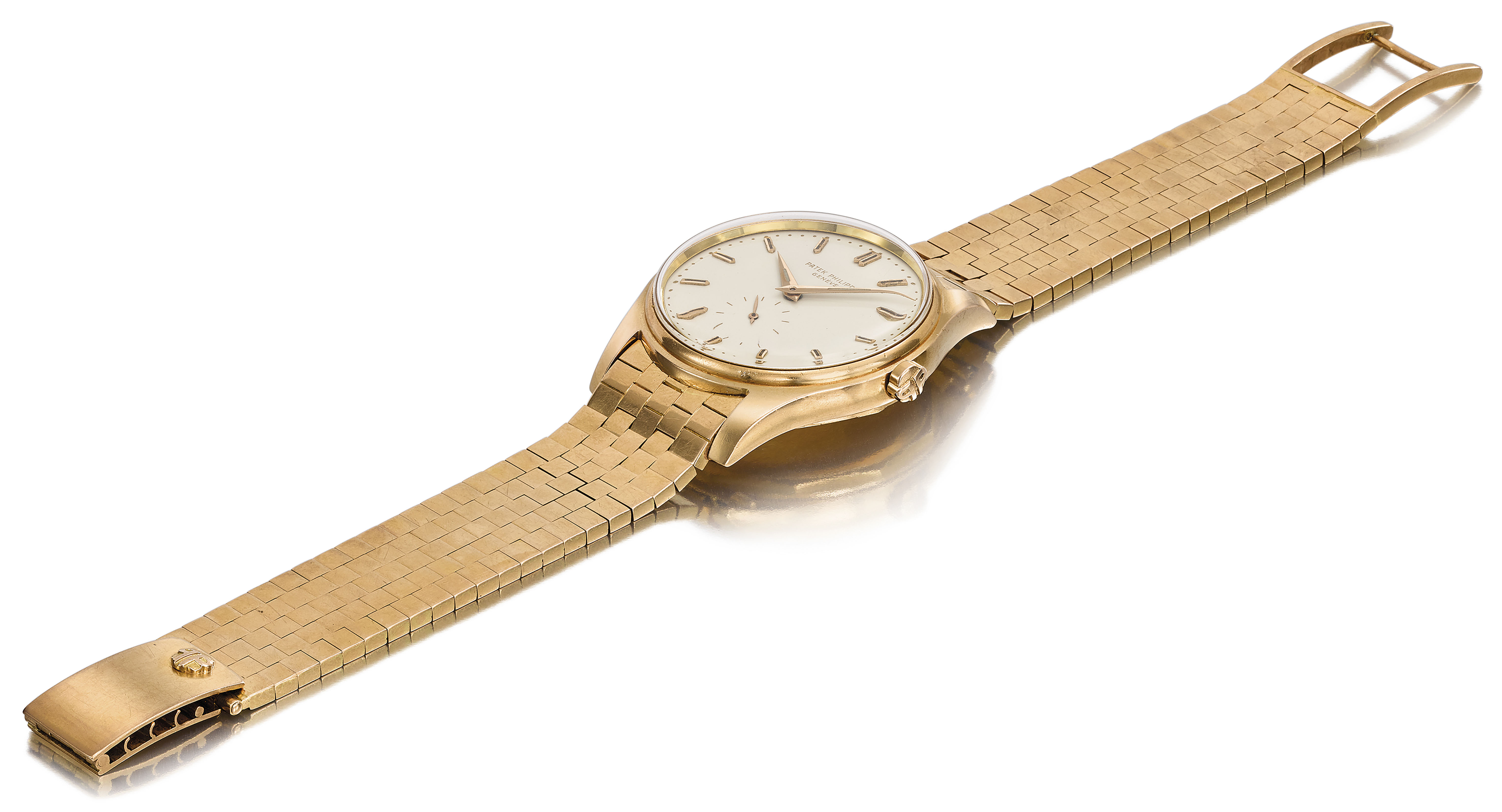 PATEK PHILIPPE. AN EXTREMLY RARE AND ATTRACTIVE 18K PINK GOLD AUTOMATIC WRISTWATCH WITH CREAM-COLOURED ENAMEL DIAL, LUMINOUS INDEXES AND HANDS AND ORIGINAL PINK GOLD GAY FRERES BRACELET