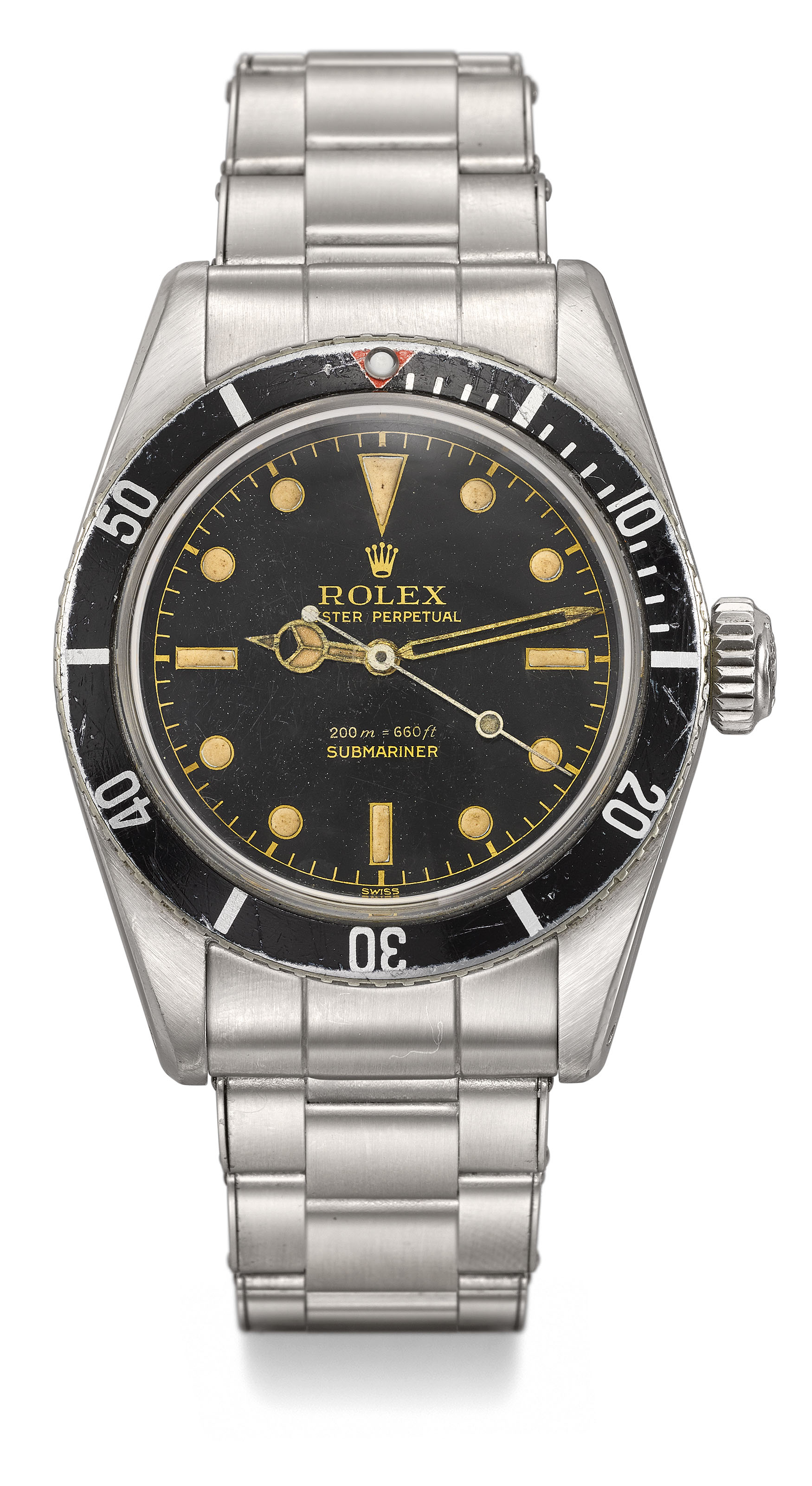 ROLEX. A VERY RARE STAINLESS STEEL AUTOMATIC WRISTWATCH WITH SWEEP CENTRE...
