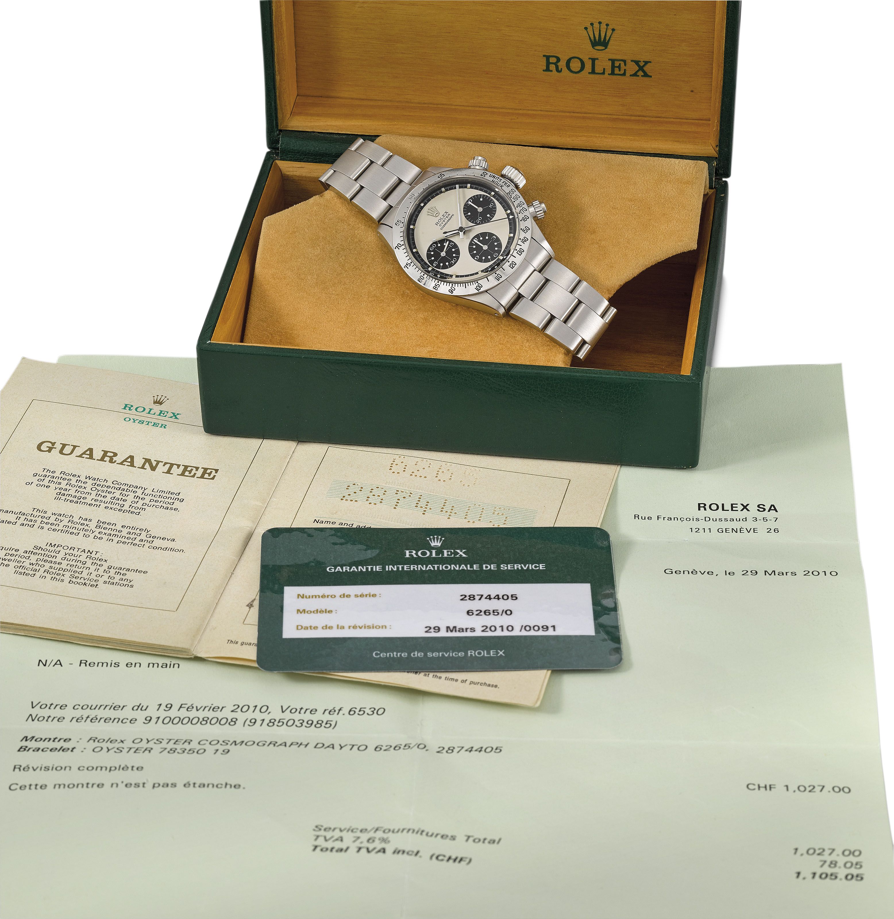 ROLEX. AN EXTREMLY FINE AND VERY RARE STAINLESS STEEL CHRONOGRAPH...