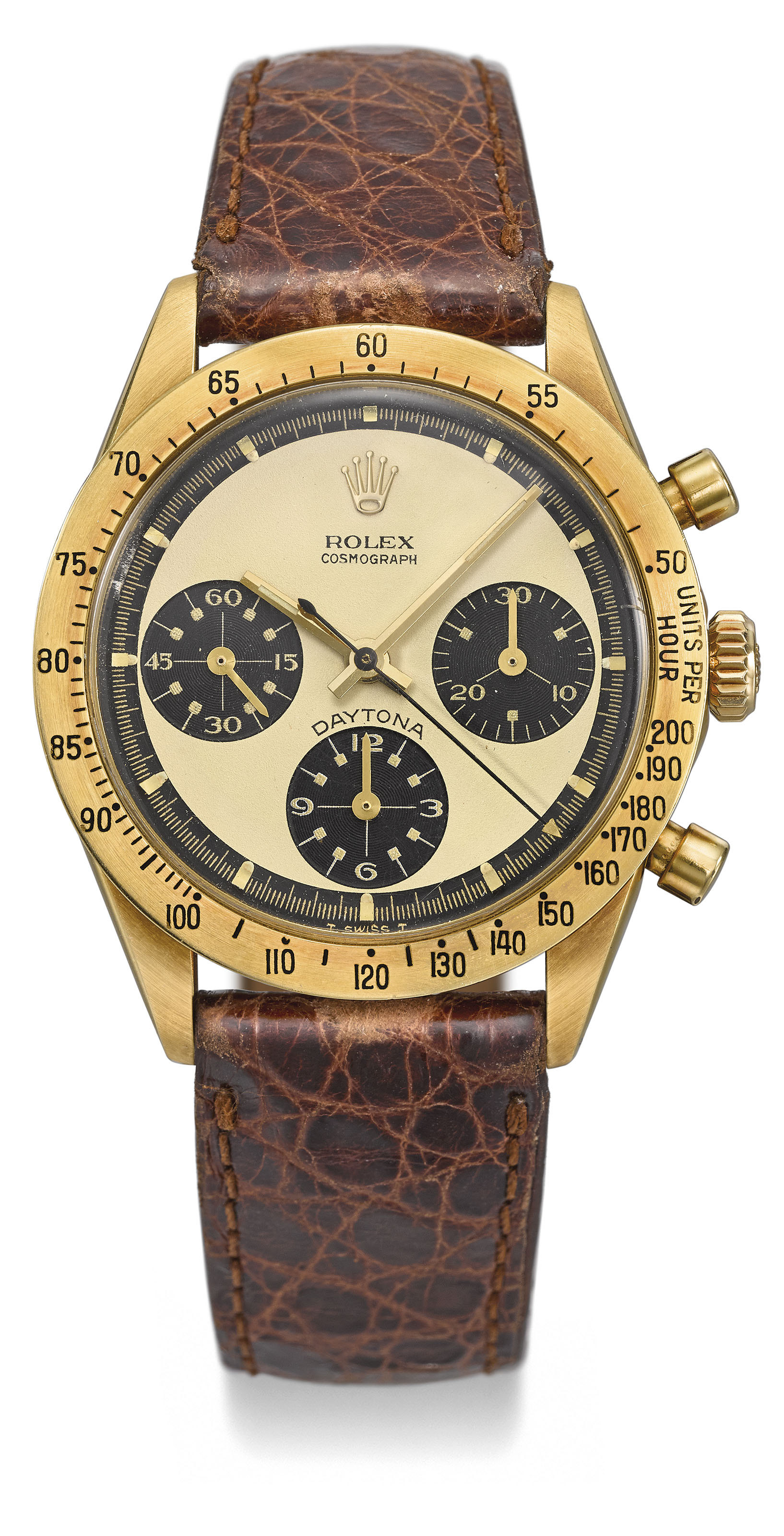 ROLEX. AN EXTREMELY RARE AND HIGHLY ATTRACTIVE 18K GOLD CHRONOGRAPH...