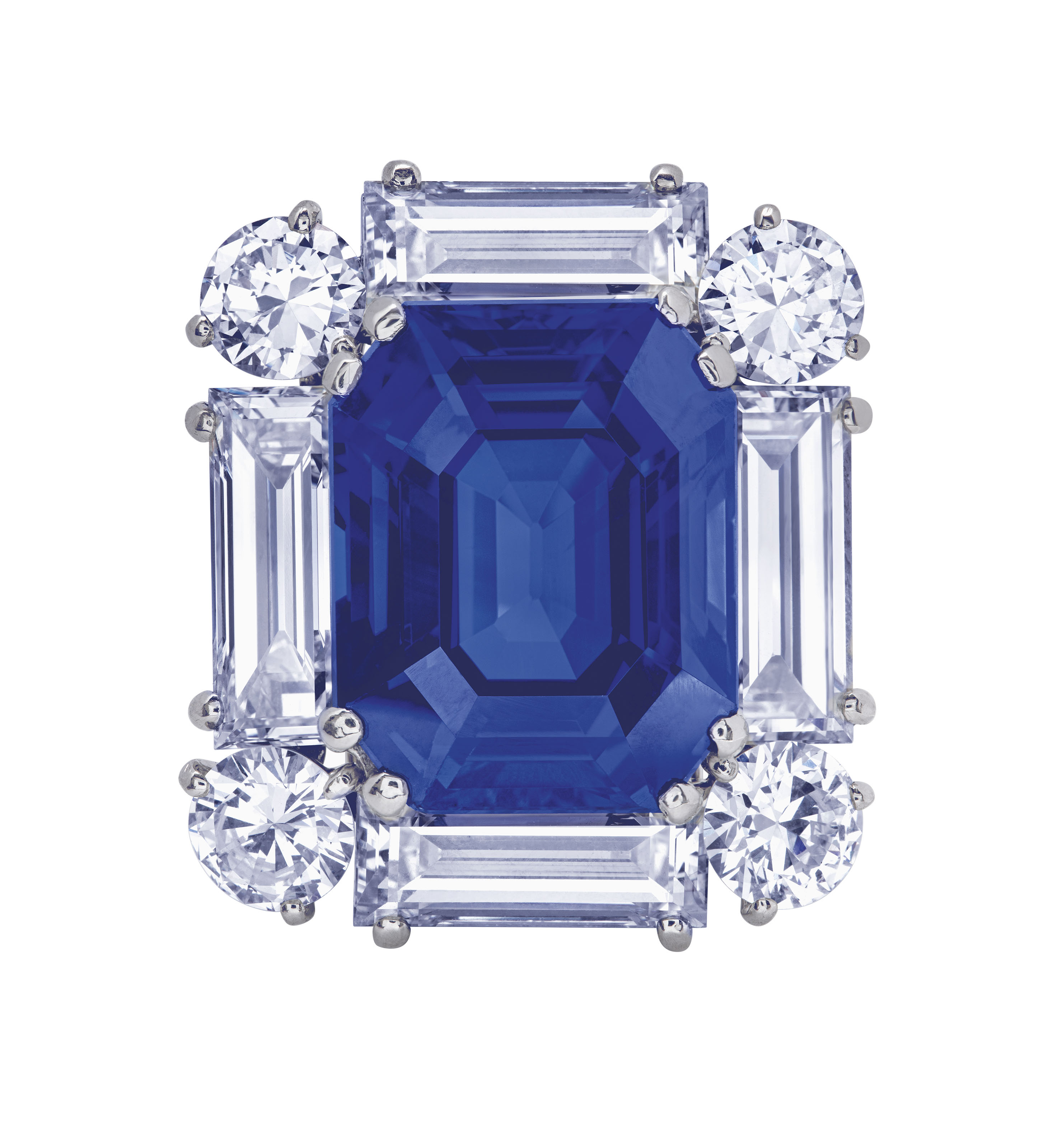 EXCEPTIONAL SAPPHIRE AND DIAMOND BROOCH, CARTIER