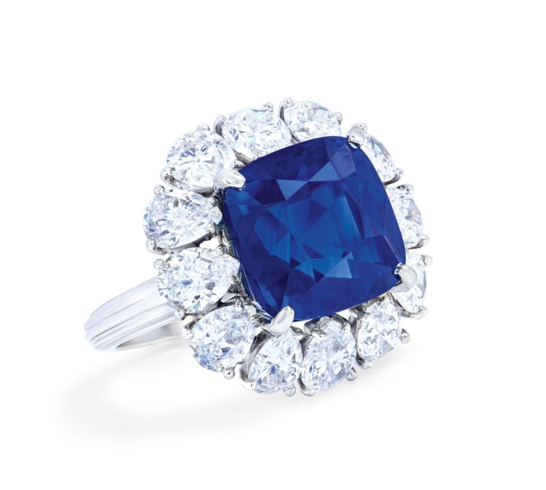 Important sapphire and diamond ring, Cartier, Gübelin, 2019, report no. 19070025 12.65 carats, Kashmir, no indications of heating. Sold for CHF 879,000 on 12 November 2019 at Christie's in Geneva