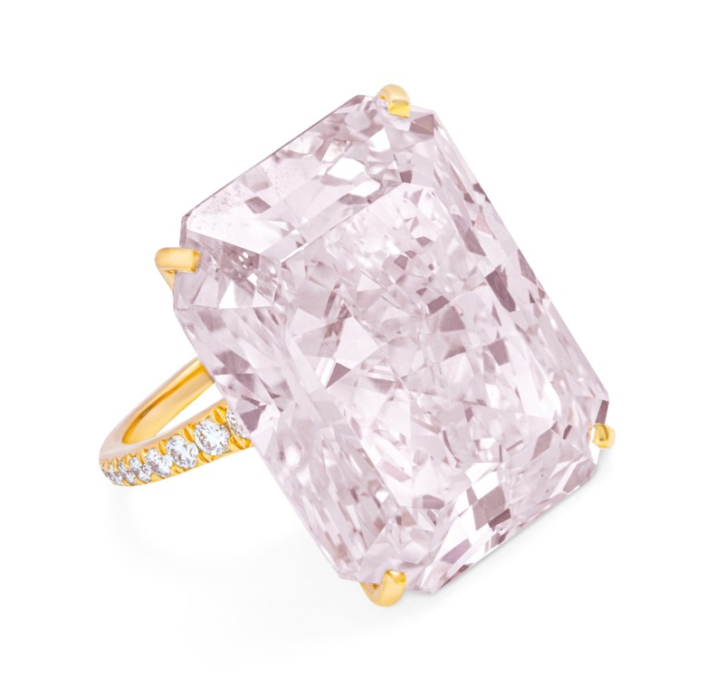 Rare coloured diamond and diamond ring, GIA, 2019, report no. 2181741920 32.49 carats, fancy light purplish pink colour, VS2 clarity. Sold for CHF 2,535,000 on 12 November 2019 at Christie's in Geneva
