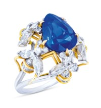 SAPPHIRE AND DIAMOND RING, MOUNT BY SCHLUMBERGER FOR TIFFANY & CO.