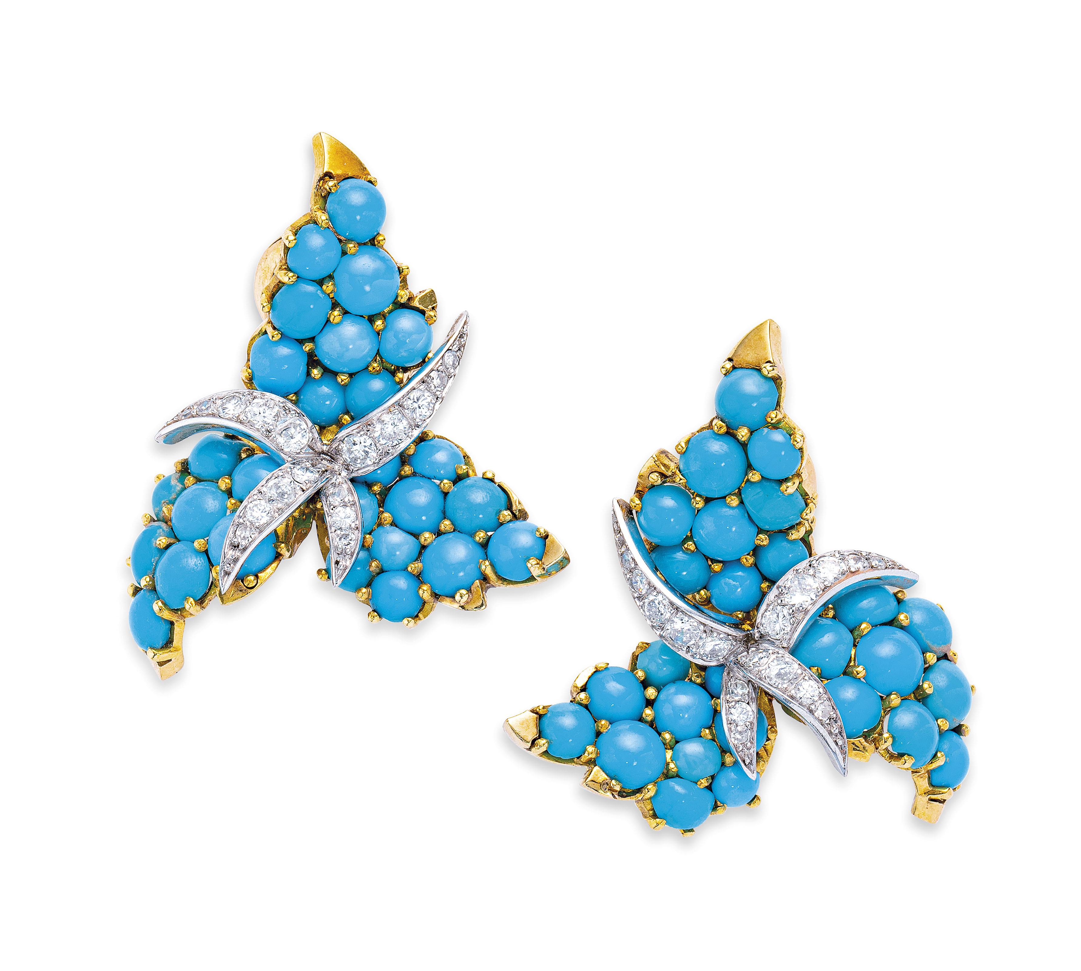 TURQUOISE AND DIAMOND BROOCH AND EARRING SET, STERLÉ FOR CHAUMET