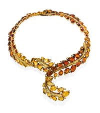 CITRINE AND DIAMOND NECKLACE AND RING SET, STERLÉ