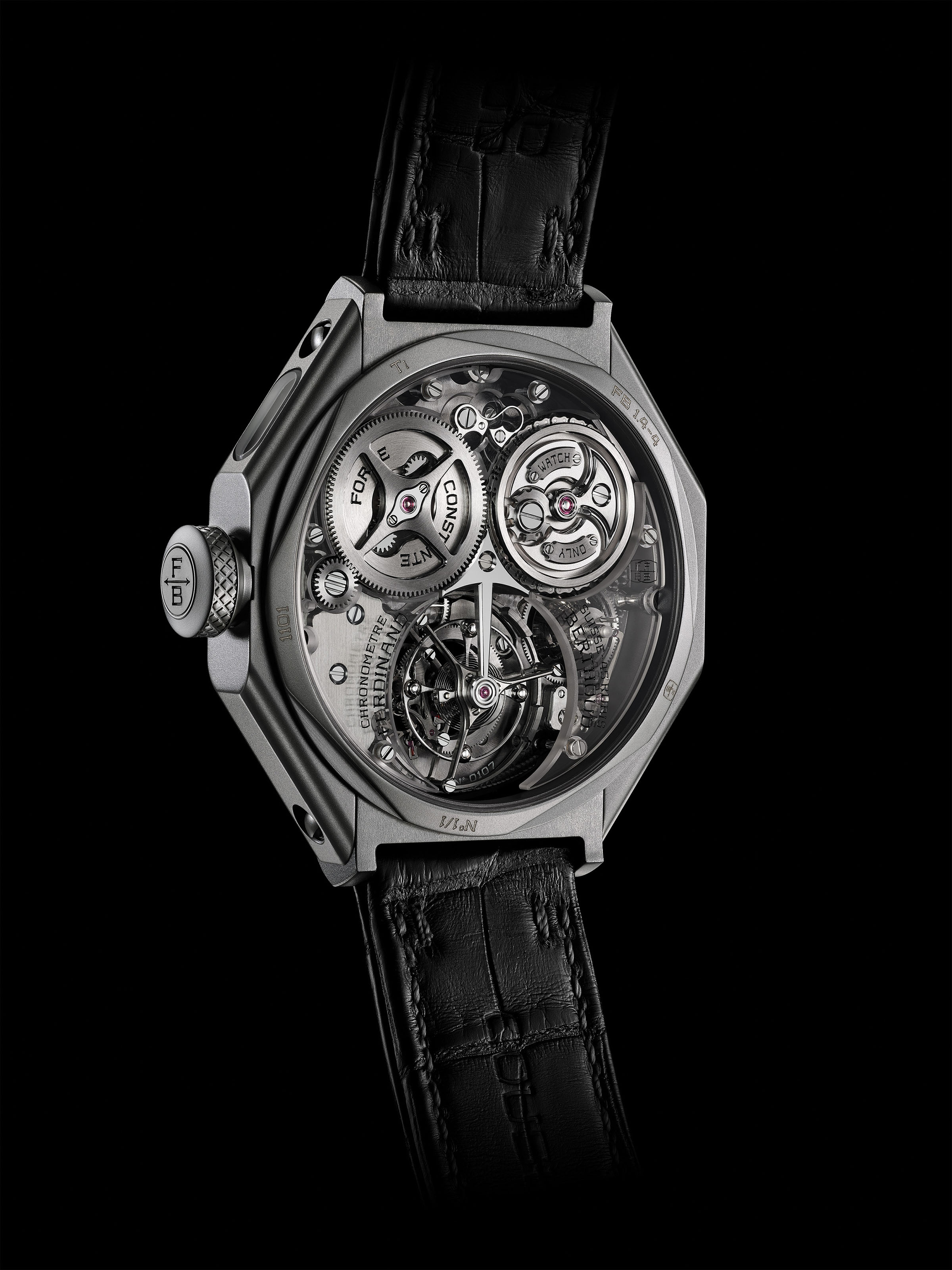 """FERDINAND BERTHOUD CHRONOMÈTRE FB 1 – NIGHT STAR  The FB 1 """"Night Star"""" and its exclusive combination of colours and material is the interpretation of hope that inspires the fight against Duchenne muscular dystrophy, supported by Only Watch."""