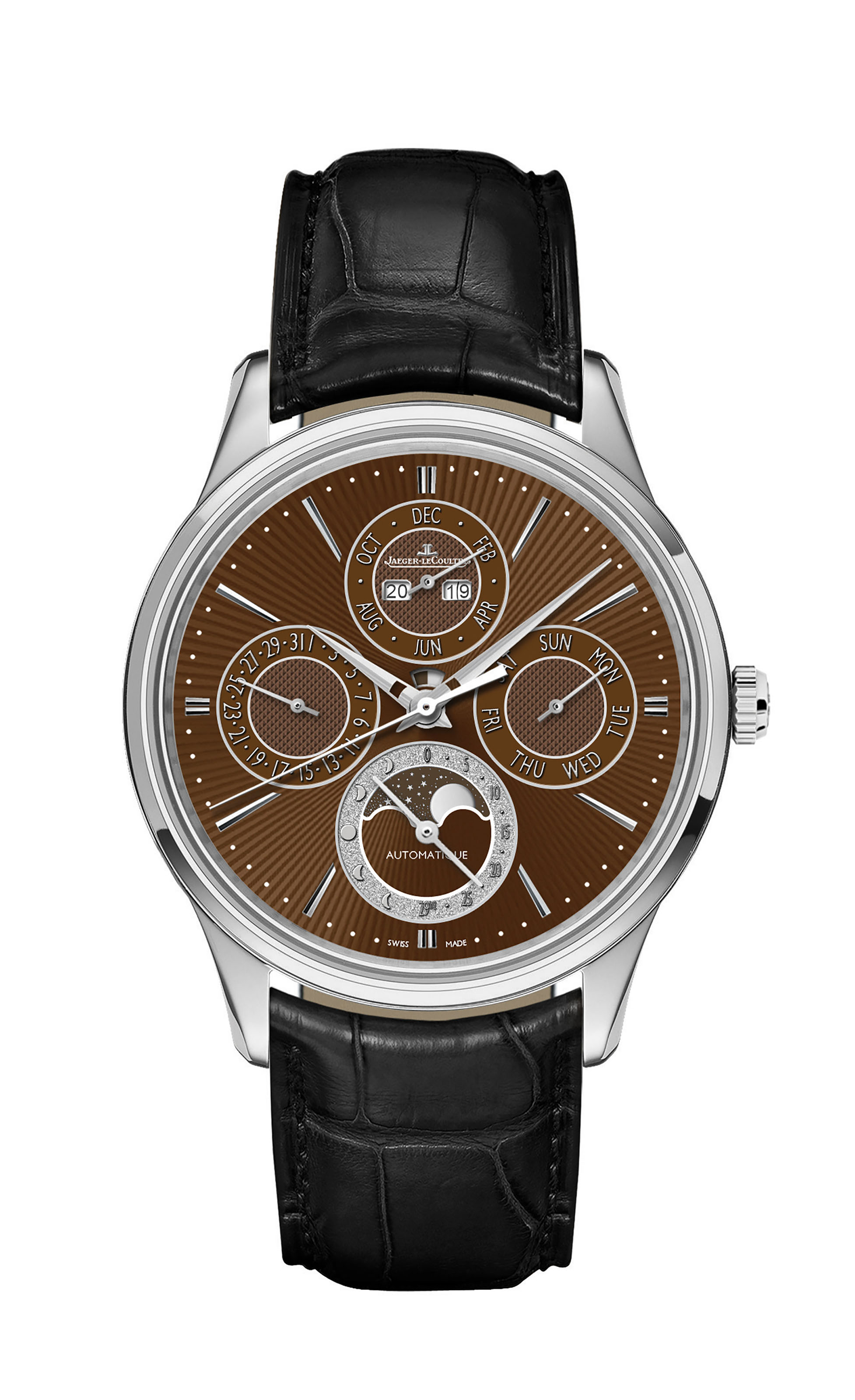 JAEGER-LECOULTRE MASTER UITRA THIN PERPETUAL ENAMEL CHESTNUT  Presenting an exceptional work from Jaeger-LeCoultre's Manufacture, where the codes of the Master Ultra Thin collection have been reinterpreted by the Métiers Rares®workshop, to create a unique watch: the Master Ultra Thin Perpetual Enamel Chestnut.