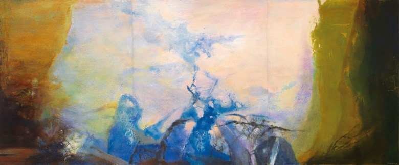 Zao Wou-Ki (Zhao Wuji, 1920-2013), Triptyque, 1987-1988. Oil on canvas. Overall 200 x 486  cm (78¾ x 191⅜  in). Estimate HK$120,000,000-150,000,000. Offered in 20th Century & Contemporary Art (Evening Sale) on 25 May 2019 at Christie's in Hong Kong