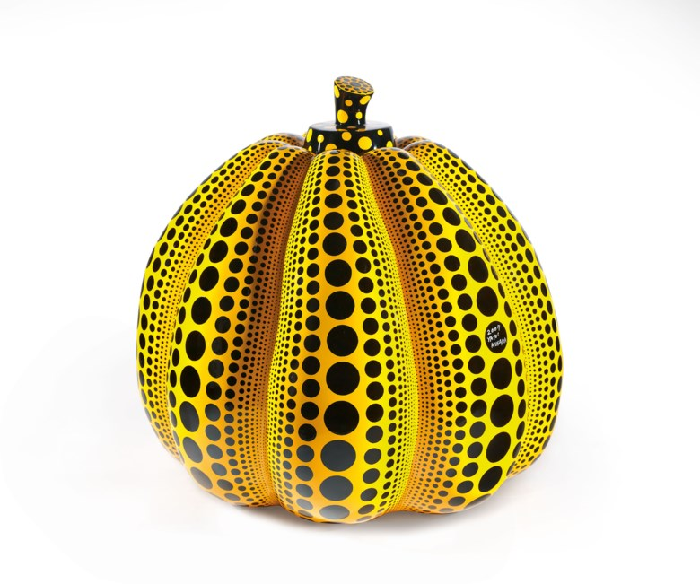 Yayoi Kusama (Japan, b. 1929), Pumpkin, 2007. Painted fiberglass-reinforced plastic sculpture, 110 (H) x 120 x 120  cm (43¼ x 47¼ x 47¼ in). Estimate HK$8,000,000-12,000,000. Offered in 20th Century & Contemporary Art (Evening Sale) on 25 May 2019 at Christie's in Hong Kong