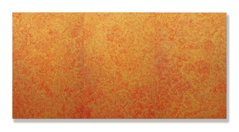 Yayoi Kusama (Japan, b. 1929), Infinity Net (TWHOQ), 2006. Acrylic on canvas. Overall 194 x 390.9  cm (76⅜ x 153⅞ in). Estimate HK$25,000,000-35,000,000. Offered in 20th Century & Contemporary Art (Evening Sale) on 25 May 2019 at Christie's in Hong Kong