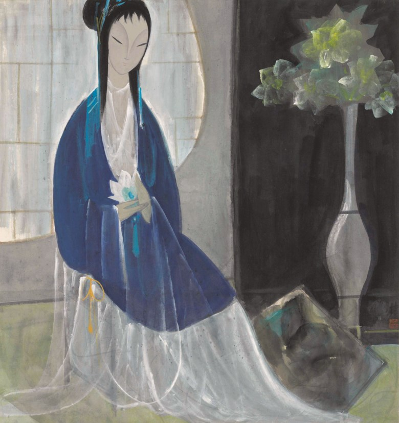 Lin Fengmian (1900-1991), Lady with Lotus, 1964. Ink and colour on paper. 67.5 x 63 cm (26½ x 24⅜ in). Sold for HK$3,725,000 on 26 May 2019 at Christie's in Hong Kong