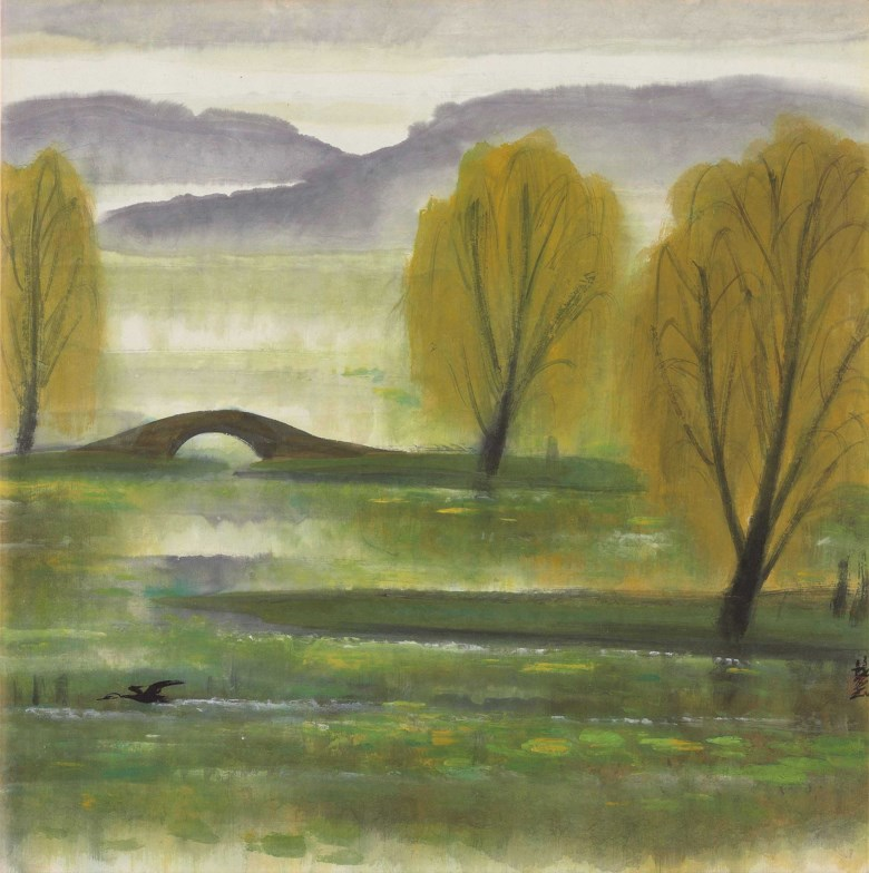 Lin Fengmian (1900-1991), Willow Scenery, 1960s. Ink and colour on paper. 67 x 66 cm (26⅜ x 26 in). Sold for HK$2,250,000 on 26 May 2019 at Christie's in Hong Kong