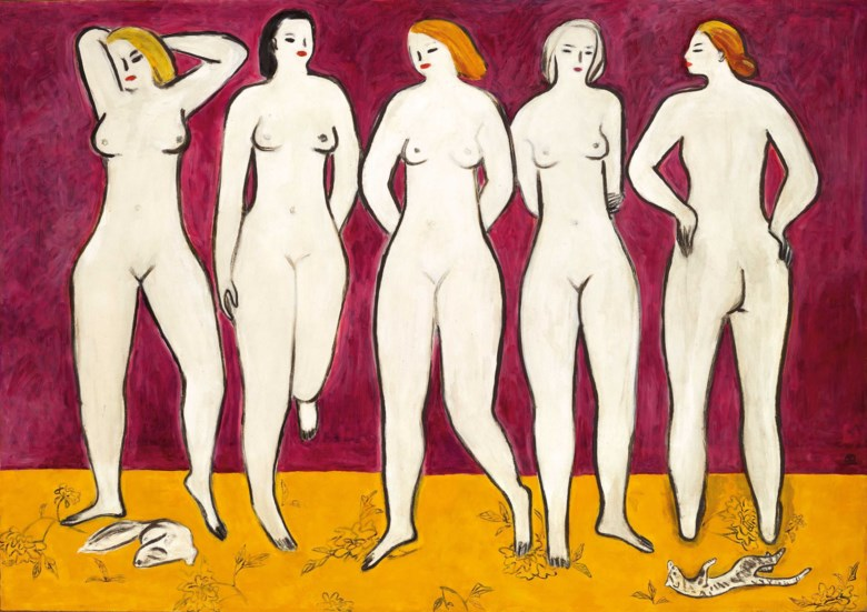 Sanyu (Chang Yu, 1895-1966), Five Nudes, painted in 1950s. 120 x 172 cm (47¼ x 67¾ in). Sold for HK$303,985,000 on 23 November 2019 at Christie's in Hong Kong