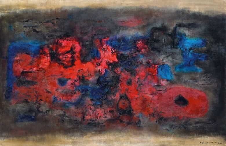 趙無極 ,《甦醒的城市》,油彩 畫布,1956年作,65 x 100.2公分(25 58 x 39 12吋)。2019年11月23日在佳士得香港售出,成交價34,925,000港元