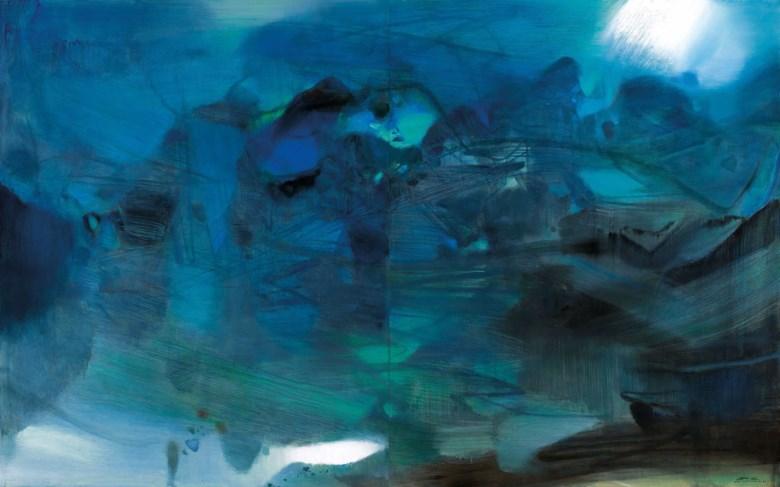 朱德群,《晴》,油彩 画布 (二联作),1982年作。全幅:162 x 260公分(63 34 x 102 38寸)。估价:25,000,000–35,000,000港元。此拍品将于2019年11月23日佳士得香港二十世纪及当代艺术 晚间拍卖呈献