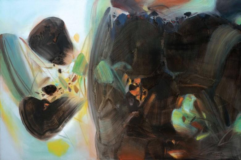 朱德群,《喜悦》,油彩 画布,1997年作。。130.2 x 195公分(51 18 x 76 34寸)。估价:10,000,000–15,000,000港元。此拍品将于2019年11月23日佳士得香港二十世纪及当代艺术 晚间拍卖呈献