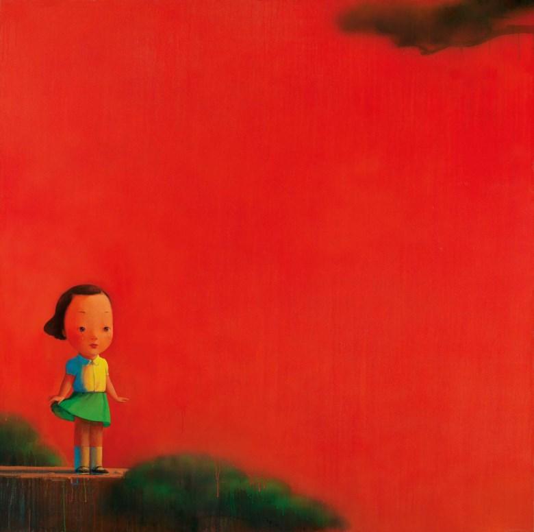 劉野,《紅2號》,壓克力 畫布,2003年作。195 x 195公分(76 34 x 76 34吋)。2019年11月23日在佳士得香港售出,成交價23,525,000港元