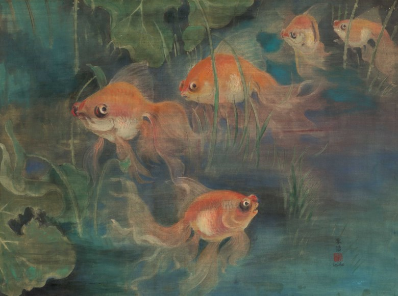 Le Pho (1907-2001), Les poissons rouges (Goldfish). Ink and gouache on silk. 52 x 69.5  cm (20½ x 27⅜  in). Estimate HK$300,000-400,000. Offered in 20th Century & Contemporary Art Morning Session on 24 November 2019 at Christie's in Hong Kong