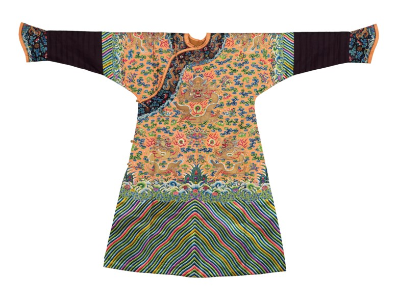 An apricot-ground embroidered Dragon robe, Jifu, Qing dynasty, 19th century. 52⅜  in (133  cm long). Estimate HK$400,000-600,000. Offered in Important Chinese Ceramics and Works of Art on 29 May 2019 at Christie's in Hong Kong